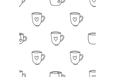 Cofffee mugs and tea cups seamless repeat pattern.Valentines day patte