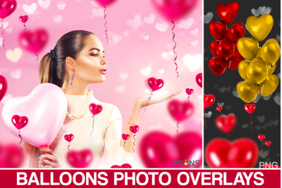 40 Heart balloons photo overlays valentines romantic wedding