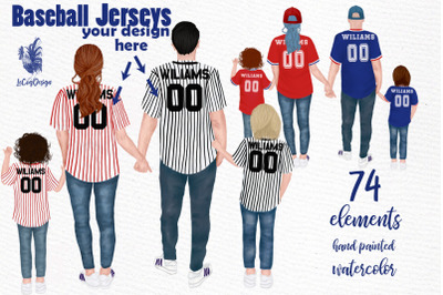 Baseball jerseys clipart,Family in jerseys, Baseball family