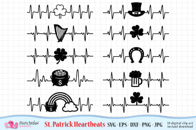 St Patricks Day Heartbeat SVG, eps, dxf, png, jpg.