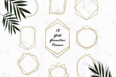 Gold Frames Clipart, Gold Foil Geometric Frames Clipart, Digital Frame