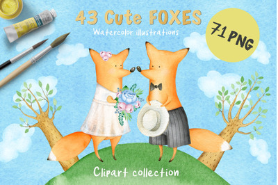 43 Cute FOXES Watercolor Clipart