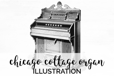 Music - Chicago Cottage Organ Vintage Clipart Graphics