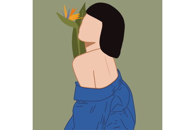 Girl with a  Flower. Bird of Paradise.