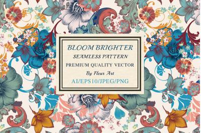 Bloom bright vector seamless pattern