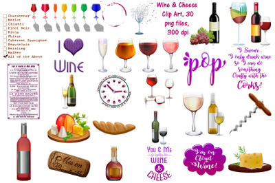 Wine and Cheese and Elements Clip Art