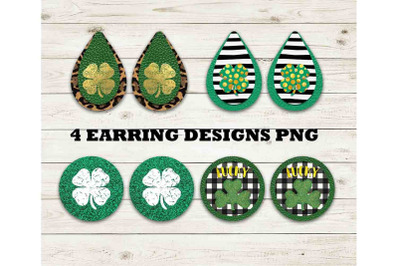 St. Patrick's Drop Earring Sublimation Design Bundle, Clover PNG