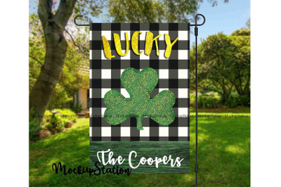 St Patrick's Lucky Clover Garden Flag Sublimation Design, Shamrock