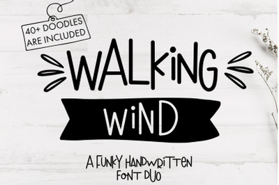 Walking Wind - A funky handwritten font duo with doodles