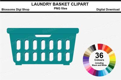 Laundry Basket Sticker Clipart, 36 files, multi colours