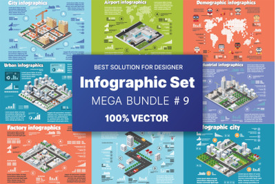 Isometric set infographics concept