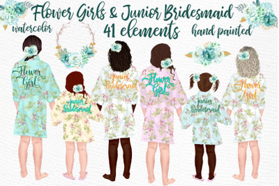 Flower girl clipart,Junior Bridesmaid, Wedding clipart,