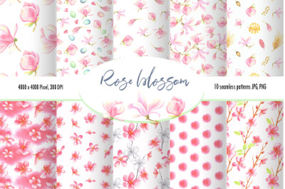 Watercolor Rose Blossom patterns