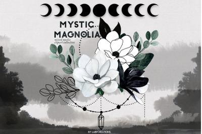 Mystic Magnolia. Black white flowers