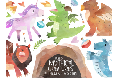 Watercolor Mythical Creatures Clipart