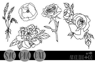 Flower outline bundle