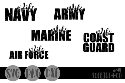 Military wife bundle, SVG, PNG, DXF