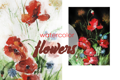 watercolor Botanical illustration of flowers and poppies, landscape