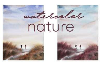 watercolor landscape and nature with people