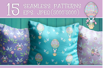 Easter bunnies. Seamless patterns.