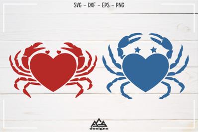 Krab Love Heart Svg Design