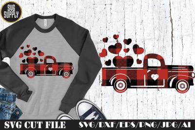 Buffalo Plaid Red Truck SVG Cut File