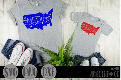 America SVG, PNG, DXF, USA, silhouette