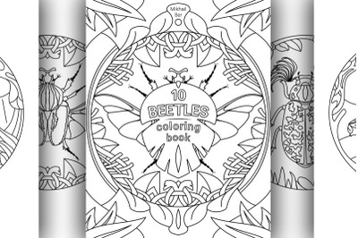 10 different beetles in one coloring book, in two versions