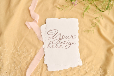Wedding stylish greeting card or invitation mock up