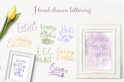 9 handwritten phrases about Easter and spring. Lettering. PS brushes