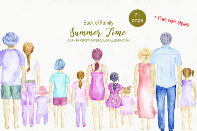 Back of Family Summer Time Watercolour Figures