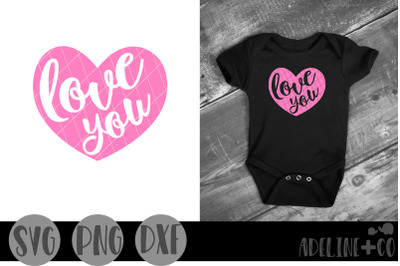 Love you heart SVG, PNG, DXF, Valentine's Day