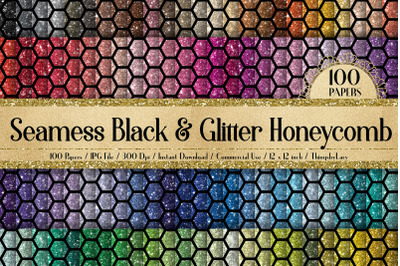 100 Seamless Glitter and Black Honeycomb Bee Digital Papers
