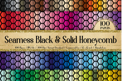 100 Seamless Black and Solid Honeycomb Bee Pattern Papers