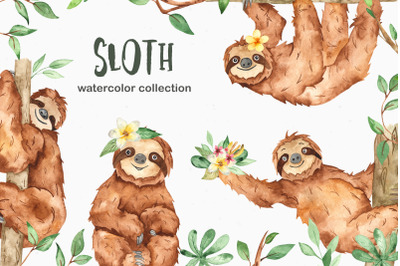 Watercolor sloth. Clipart, seamless patterns and pre-made cards