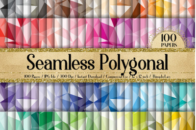 100 Seamless Abstract Polygonal Geometric Digital Papers
