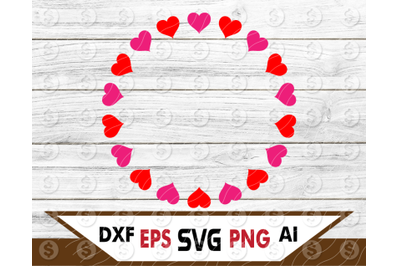 Heart circle monogram frame SVG Files for Cricut Silhouette Iron on Va