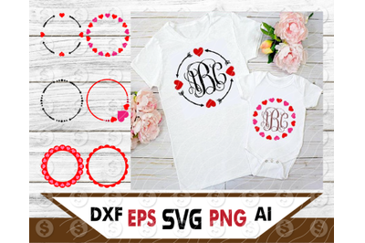 Bundle circle arrow heart monogram frame SVG Files for Cricut Silhouet