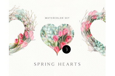 Watercolor Tulips Willow  Valentines Hearts. Floral Heart clipart. Ind