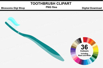 Toothbrush Sticker Clipart, 36 files, multi colours