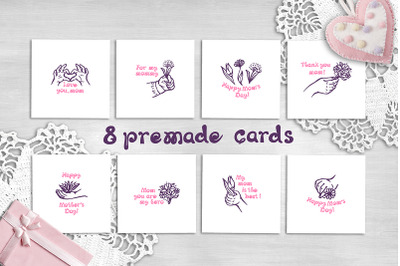 8 hand drawn Mother's Day greeting cards
