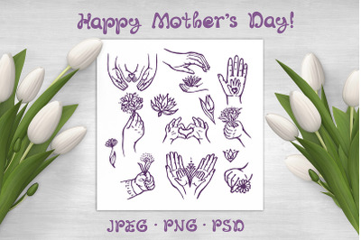 13 Mother's Day hand drawn elements