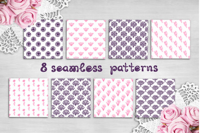 8 Mother's Day hand drawn seamless patterns