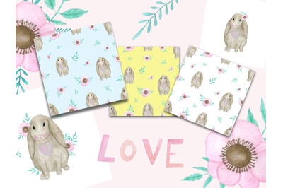 watercolor set with cute bunnys. Easter patterns