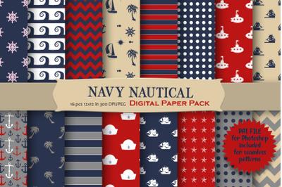 Navy Nautical Digital Paper Pack