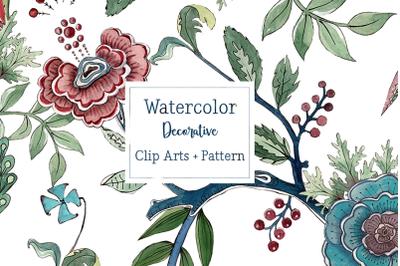 Watercolor Decorative Clip Art Set + Pattern