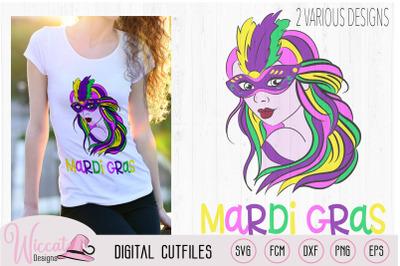 Mardi gras Girl with mask svg, carnival masker,