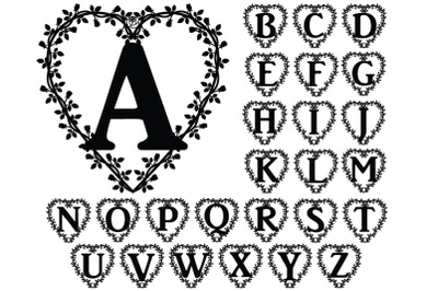 Floral Heart Alphabet SVG, Floral Heart Letters SVG Cut Files