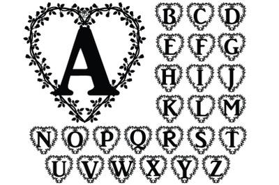 Floral Heart Alphabet SVG, Floral Heart Letters SVG Cut Files