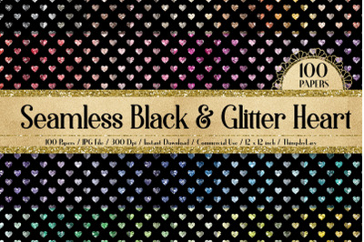 100 Seamless Black and Glitter Heart Valentine Digital Papers